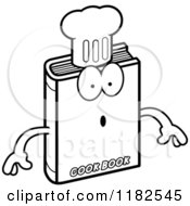 Black And White Surprised Cook Book Mascot