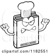 Cartoon Of A Black And White Mad Cook Book Mascot Royalty Free Vector Clipart