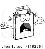 Black And White Scared Teacher Book Mascot Royalty Free Vector Clipart