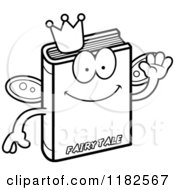 Black And White Waving Fairy Tale Book Mascot Royalty Free Vector Clipart