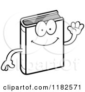 Black And White Waving Book Mascot Royalty Free Vector Clipart