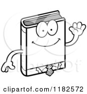 Black And White Waving Business Book Mascot Royalty Free Vector Clipart