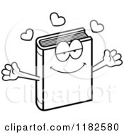 Black And White Loving Book Mascot Royalty Free Vector Clipart