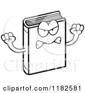 Black And White Mad Book Mascot Royalty Free Vector Clipart