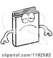 Black And White Depressed Book Mascot Royalty Free Vector Clipart