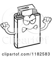Black And White Mad Teacher Book Mascot Royalty Free Vector Clipart