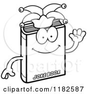 Black And White Waving Jester Joke Book Mascot Royalty Free Vector Clipart