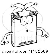 Black And White Surprised Jester Joke Book Mascot Royalty Free Vector Clipart