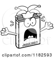 Black And White Scared Jester Joke Book Mascot Royalty Free Vector Clipart