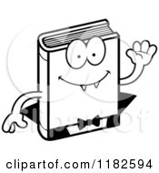 Black And White Waving Horror Vampire Book Mascot Royalty Free Vector Clipart