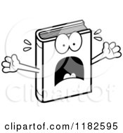 Black And White Scared Book Mascot Royalty Free Vector Clipart
