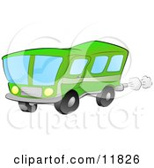 Green Bus For Public Transportation Clipart Illustration