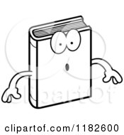 Black And White Surprised Book Mascot Royalty Free Vector Clipart