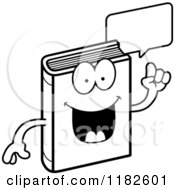 Black And White Talking Book Mascot Royalty Free Vector Clipart