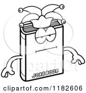 Black And White Bored Jester Joke Book Mascot Royalty Free Vector Clipart