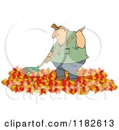 Chubby Caucasian Man Raking Autumn Leaves