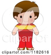 Cartoon Of A Happy Patriotic Boy Wearing Spanish Flag Clothing Royalty Free Vector Clipart