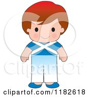 Cartoon Of A Happy Patriotic Boy Wearing Scottish Flag Clothing Royalty Free Vector Clipart by Maria Bell