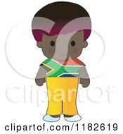 Happy Patriotic Boy Wearing South African Flag Clothing