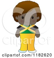 Happy Patriotic Boy Wearing Jamaican Flag Clothing