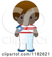 Happy Patriotic Boy Wearing Puerto Rican Flag Clothing
