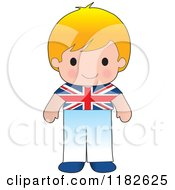 Happy Patriotic Boy Wearing British Flag Clothing