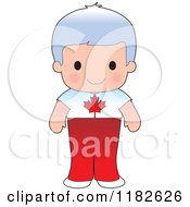 Happy Patriotic Boy Wearing Canadian Flag Clothing