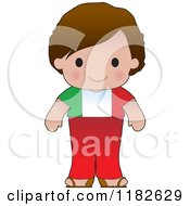 Happy Patriotic Boy Wearing Italian Flag Clothing