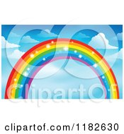 Cartoon Of A Sparkly Rainbow And Clouds In A Sky Royalty Free Vector Clipart