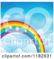 Cartoon Of A Sparkly Rainbow And Clouds In A Sky 3 Royalty Free Vector Clipart by visekart