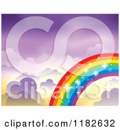 Cartoon Of A Sparkly Rainbow And Clouds In A Purple Sky Royalty Free Vector Clipart