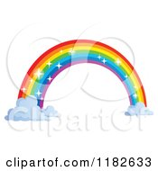 Cartoon Of A Sparkly Rainbow Arch And Clouds Royalty Free Vector Clipart