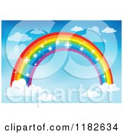 Cartoon Of A Sparkly Rainbow And Clouds In A Sky 2 Royalty Free Vector Clipart by visekart
