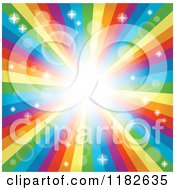 Cartoon Of A Rainbow Burst With Sparkles And Flares Royalty Free Vector Clipart by visekart