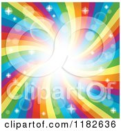 Cartoon Of A Rainbow Swirl Or Vortex With Sparkles And Flares Royalty Free Vector Clipart by visekart