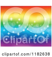 Cartoon Of A Rainbow Background With Flares And Sparkles Royalty Free Vector Clipart