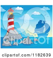 Cartoon Of A Shining Lighthouse And Silhouetted Pirate Ship Royalty Free Vector Clipart
