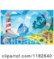 Cartoon Of A Shining Lighthouse Near An Island And Silhouetted Pirate Ship Royalty Free Vector Clipart