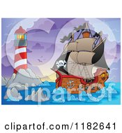Cartoon Of A Shining Lighthouse And Pirate Ship At Dawn Royalty Free Vector Clipart