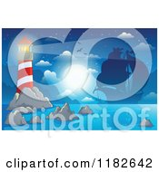 Cartoon Of A Shining Lighthouse And Silhouetted Pirate Ship At Night Royalty Free Vector Clipart