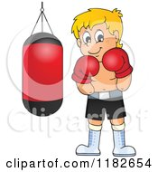 Cartoon Of A Blond Boxer By A Punching Bag Royalty Free Vector Clipart
