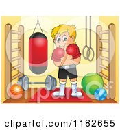 Cartoon Of A Blond Boxer And A Punching Bag In A Gym Room Royalty Free Vector Clipart by visekart