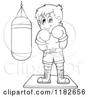 Cartoon Of An Outlined Boxer By A Punching Bag Royalty Free Vector Clipart