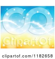 Cartoon Of A Blue And Orange Background Of Flares And Waves Royalty Free Vector Clipart