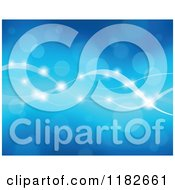 Cartoon Of A Blue Background Of Flares And Waves Royalty Free Vector Clipart by visekart