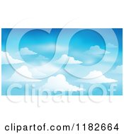 Cartoon Of A Blue Sky With Clouds Background Royalty Free Vector Clipart