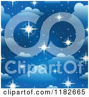Cartoon Of A Seamless Blue Sky With Sparkling Stars And Clouds Royalty Free Vector Clipart