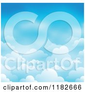 Cartoon Of A Blue Sky With Clouds Background 2 Royalty Free Vector Clipart
