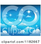 Cartoon Of A Blue Sky With Stars Clouds And A Crescent Moon Royalty Free Vector Clipart by visekart