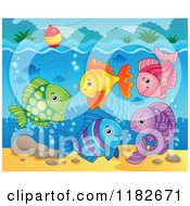 Cartoon Of Colorful Fish And Hook Under A Bobber Royalty Free Vector Clipart by visekart